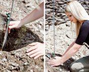 Sarah Hulten beim Pflanzen der Rieslingreben. Foto: Jacqueline Carina Werrmann